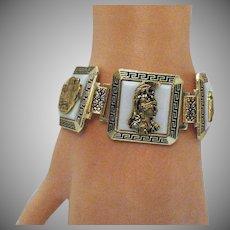 Unusual Greek Key Pictorial Bracelet Vintage Souvenir