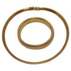 Golden Vintage Costume Mesh Snake Skin Choker Necklace Bracelet Set FREE SHIPPING