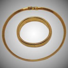 Golden Vintage Mesh Snake Skin Choker Necklace Bracelet Set