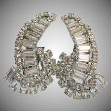 AMAZING Lobe Crawler Baguette Rhinestone Vintage Clip Earrings