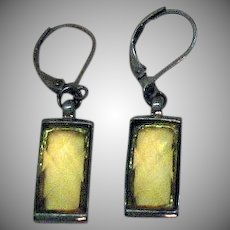 Pretty Vintage Translucent Faceted Yellow Glass Gun Metal Pierced Earrings