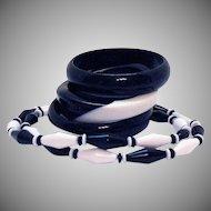 Fabulous Vintage Black White Lucite Necklace Three Bangle Bracelets