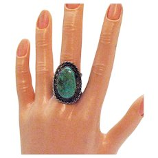 Bold Vintage Sterling Silver Early Century Native American Indian Turquoise Ring