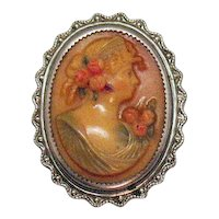 Unusual Antique Butterscotch Celluloid Cameo Sterling Silver Frame Brooch FREE SHIPPING