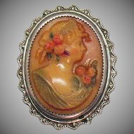 Unusual Antique Butterscotch Celluloid Cameo Sterling Silver Frame Brooch