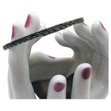 50% Off Vintage Signed Sterling Silver Floral Wreath Repousse Bangle Bracelet