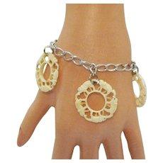 Vintage Hand Carved Figural Elephant Charms Sterling Silver Charm Bracelet