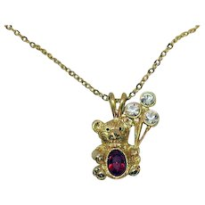 Adorable Vintage Signed DM 99 July Birthday Necklace Figural Teddy Bear Holding Balloons