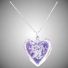 Fun Vintage Clear Lucite Puffy Bubble Heart Pendant Necklace