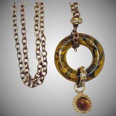 Vintage Big Bold Tortious Shell Swirl Lucite Rhinestone Slide Pendant Necklace