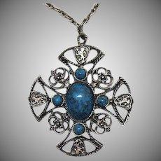 Big Bold Vintage Heraldic Cross Figural Lion Crest Faux Turquoise Pendant Necklace