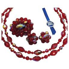 50% Off 1 Week Only Original Imported Aurora Borealis Ruby Red Parure Vintage Necklace Brooch Earrings Original Box