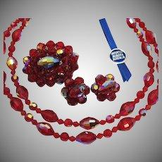 Original Imported Aurora Borealis Ruby Red Parure Vintage Necklace Brooch Earrings Original Box