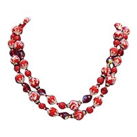 Rare Signed Vendome Red Double Strand Wedding Cake Bead Rhinestone Rondels Glass Beads FREE SHIPPING