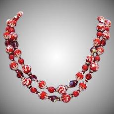 Rare Signed Vendome Red Double Strand Wedding Cake Bead Rhinestone Rondels Glass Beads