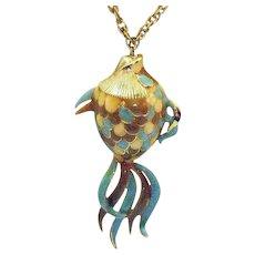 Unique Bold Vintage Enameled Figural Fish Pendant Necklace