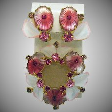 Rare Vintage D&E Juliana Pillow Camphor Glass Enameled Rhinestone Brooch Earrings Set