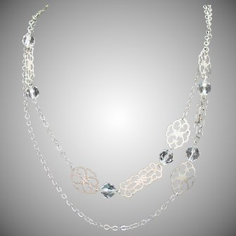 Silvery Vintage Filigree Lucite Beaded Necklace