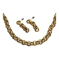 Brush Yellow Gold Plated Vintage Rolo Style Necklace Pierced Earrings Set FREE SHIPPING