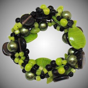 Unusual Art Glass Vintage Wide Lime Green Black Beaded Stretch Bracelet