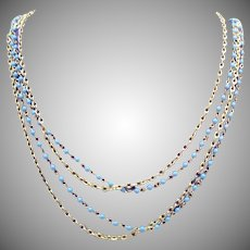Golden Faux Glass Turquoise Vintage Double Strand Chain Necklace 52 Long