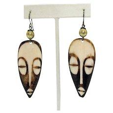 50% Off Unique Vintage Carved Africa Batik Bone Etched Tribal Face Brass Pierced Earrings 3 ¼ Long
