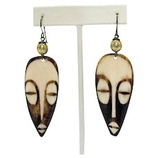 Unique Vintage Carved Horn Etched Tribal Face Brass Pierced Earrings 3 ¼ Long