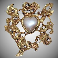 BOLD Signed Robert Rose Vintage Rose Faux Pearl Heart Brooch