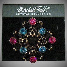 Rare Signed Marshall Field's Crystal Collection Vintage Brooch Original Card