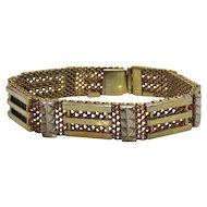 Unusual Art Deco Era Vintage Mesh Gold Tone Bracelet