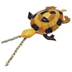 Bold Vintage Enameled Figural Sea Turtle Pendant Necklace