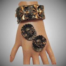 Amazing Arts and Crafts Era Vintage Repousse Copper Bangle Bracelet Clip Earrings Set