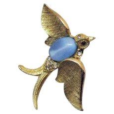 Vintage Blue Opal Glass Belly Rhinestone Figural Golden Bird in Flight Brooch