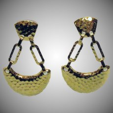 Vintage Hammered Gold Plated Metal Dangle Clip Earrings 2 1/2