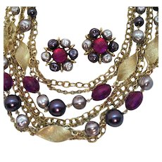 Vintage Seven Strand Beaded Necklace Clip Earrings Set Glass Plastic Faux Baroque Pearl Fuchsia Lavender Purple Beads