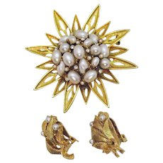 Signed BSK Vintage Faux Pearl Rhinestone Sun Burst Brooch Clip Earrings Set