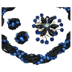 Gorgeous Vintage Necklace Rhinestone Brooch Clip Earrings Set Black Blue Glass Beaded