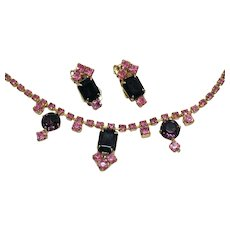 Vintage Sapphire Pink Deep Purple Rhinestones Necklace Earrings Set