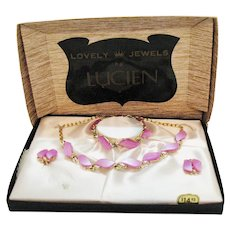 50% Off Vintage Signed Jewels by Lucien Pink Lavender Moon Glow Thermoset Parure Original Box Unworn FREE SHIPPING