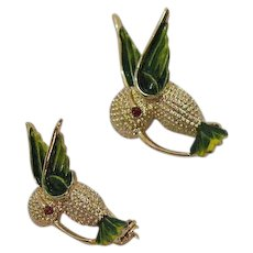 Adorable Signed Gerrys Vintage Figural Hummingbird Brooches Scatter Pins