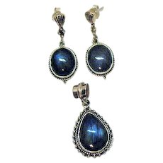 Amazing Vintage 925 Sterling Labradorite Pendant Pierced Earrings Set