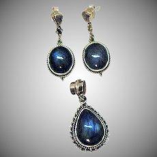 Amazing Vintage 925 Sterling Labradorite Pendant Pierced Earrings Set