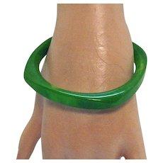 Vintage Green Swirl Translucent Bakelite Bangle Bracelet