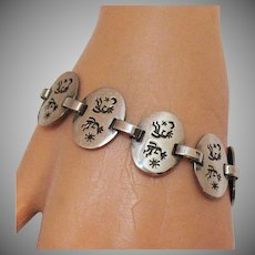 Unique Vintage Sterling Silver 925 Etched Dancing Kokopelli Moon Stars Sun Native American Indian