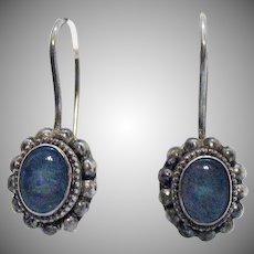 Signed Sajen Meaning Offerings in Balinese Vintage Sterling Silver 925 Opal Pierced Earrings