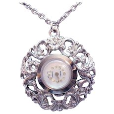 Signed Roxhall Swiss Made Vintage Pendant Mechanical Watch Silver Floral Necklace