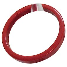 Vintage Bakelite Lip Stick Red Bangle Bracelet