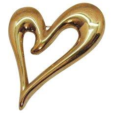 Signed Monet Vintage Golden Figural Abstract Heart Brooch