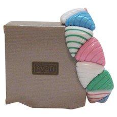 Signed Avon Candy Colors Vintage Lucite Ribbed Stretch Bracelet 1986 Unworn Original Box