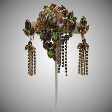 Rare Juliana D&E Vintage Cascading Rhinestone Brooch Clip Earrings Set